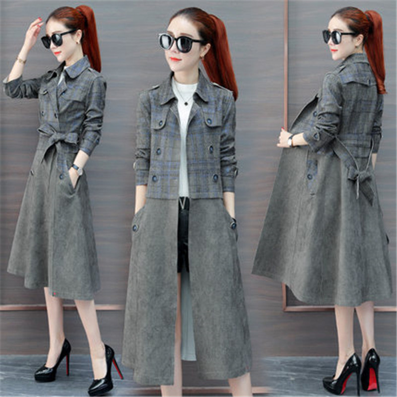 2019 New Fashion Ladies Long   Trench   Coat Spring Autumn Women's Korean Loose Waist bf Harajuku Plaid Coat X516