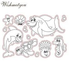 WISHMETYOU Cartoon Underwater Dolphins Turtles Starfish Shells Shark Silicone Clear Stamps Kids Handmade Diy Scrapbooking Cards