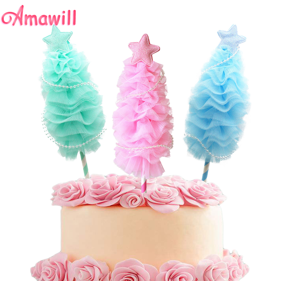 Amawill 1pc Cute Mini Christmas Tree Cake Toppers for Frozen ...