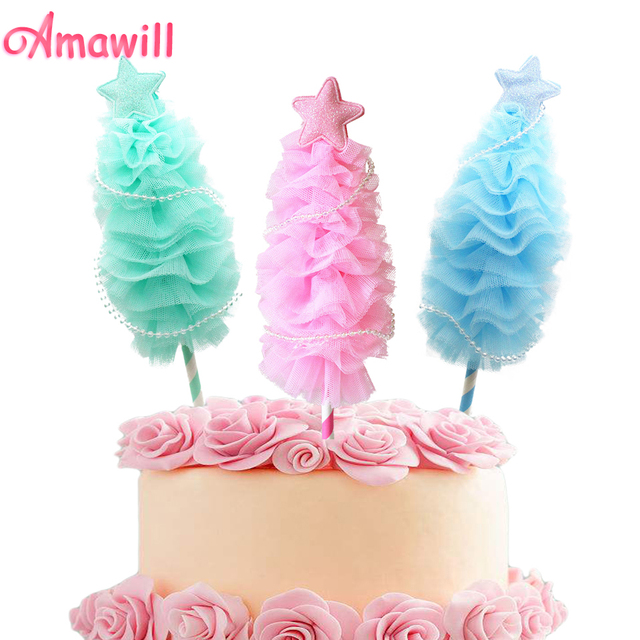 Amawill 1pc Cute Mini Christmas Tree Cake Toppers For Frozen