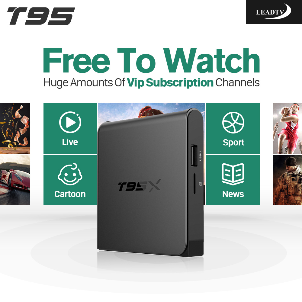 T95X Smart Android 6.0 TV Box S905X Quad Core 2.4G Wifi 4K H.265 Media Player 700 Europe Arabic French IPTV Top Box android 6 0 tv box t95x amlogic s905x 2g 8g 2g 16g quad core 100lan wifi h 265 16 1 full pre installed media player box