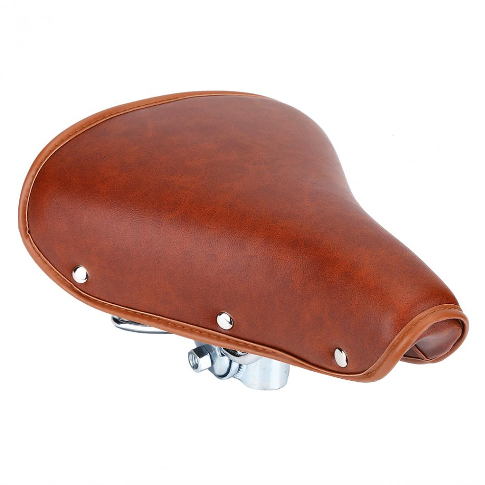 PU Leather + Metal Bicycle Saddle Brown Color Bicycle Seat Cover Durable 25 x 20 cm Bike Saddle Seat Soft And Comfortable
