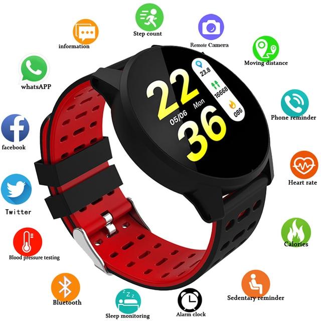 Pressão Arterial Das Mulheres Dos Homens do esporte Relógio Inteligente À Prova D' Água Atividade rastreador De Fitness Monitor de Freqüência Cardíaca GPS Smartwatch Android ios