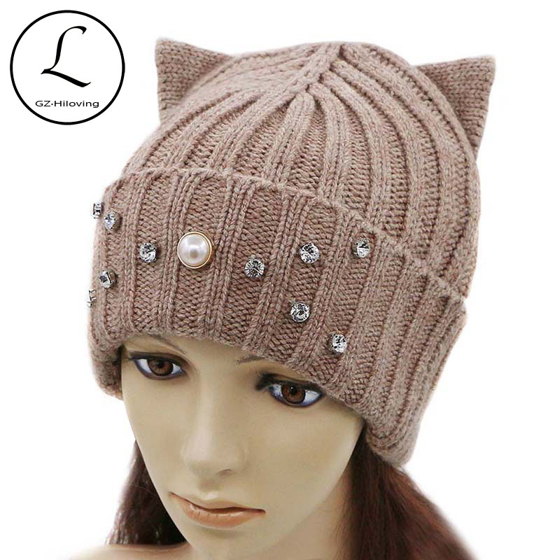 GZHILOVINGL New Warm Woman Girls Winter Beanies Knitted Hat With Cat Ears Pearls Hats Wool Hip Hop Beanies For Ladies Bonnet Cap sopamey winter woman hats warm knitting cap female beanies balaclava mask for the face hat for girls cap with ears protection