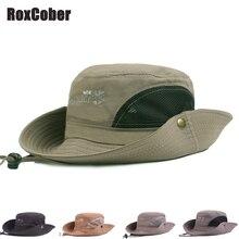 RoxCober Summer Spring Fashion Cotton Bucket Hats Men Women Breathable Big Wide Brim Fisherman Cap Outdoor Wild Panama Sun H