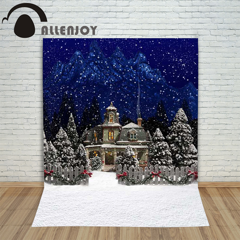 Christmas background for photos Snow house forest blur backdrop photography shoots photo shoots new year Customize christmas background for photos pure white snowman pine cones backdrop photography children s photo shoots customize photocall