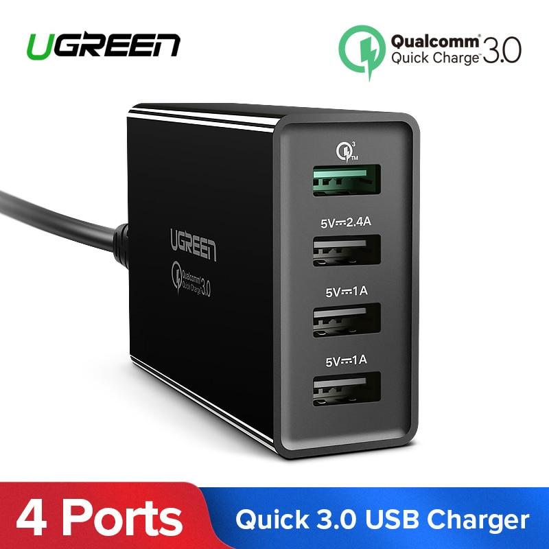 Ugreen 34 watt USB Ladegerät Schnell Ladung 3,0 Schnelle Handy Ladegerät für iPhone Samsung Xiaomi Tablet 4 Port Desktop QC 3,0 Ladegerät