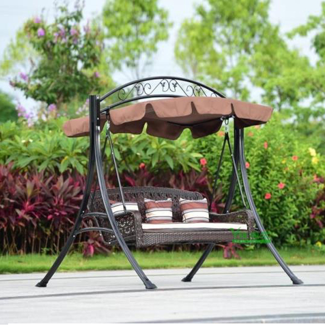 Superior 2 Person Wicker Patio Garden Swing Chair Haning Hammock Rattan Outdoor  Cover Seat Bench With Cushion