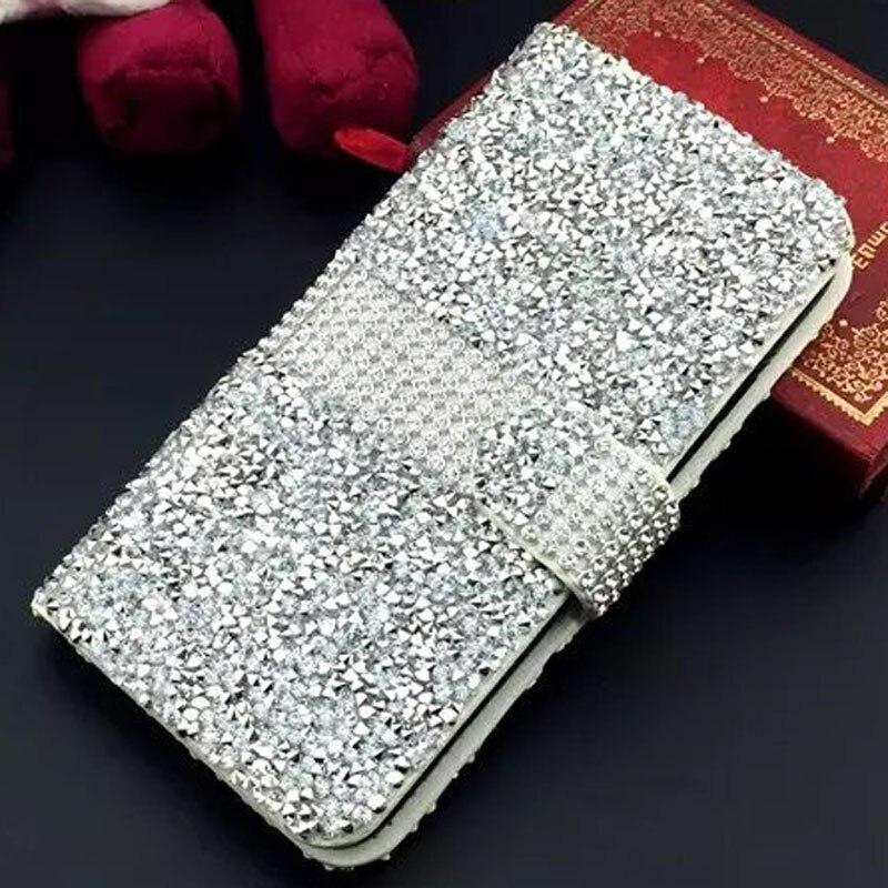 imágenes para Cubierta Del Teléfono de lujo Del Cuero Del Rhinestone Del Diamante de Bling Crystal Flip Card bolsa fundas coque para el iphone 7/7 Plus 6 s/6 Más