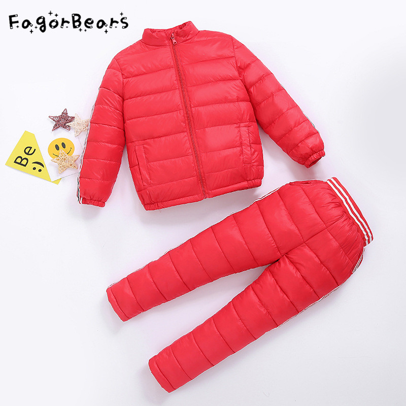 FagorBears Children Winter Down Jacket Boys Warm Outerwear Coats Girls Clothing Set Kids Ski Suit Jumpsuit For Boy Baby Overalls new 2017 russia winter boys clothing warm jacket for kids thick coats high quality overalls for boy down