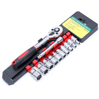 1 4 Ratchet Wrench Kit Chrome Steel Socket Wrench 10 Sockets Extension Rod Freeshipping Y103