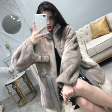 2019 winter new natural mink fur coat ladies long real mink fur coat warm waist bow fashion long sleeve no hat discount
