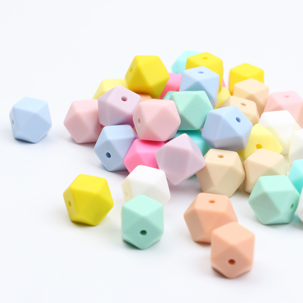TYRY.HU 100Pcs/Lot 17mm Hexagon Shaped Silicone Beads Teething Baby Teether DIY Pacifier Chain Infants Tooth Care Food Grade-in Baby Teethers from Mother & Kids    1