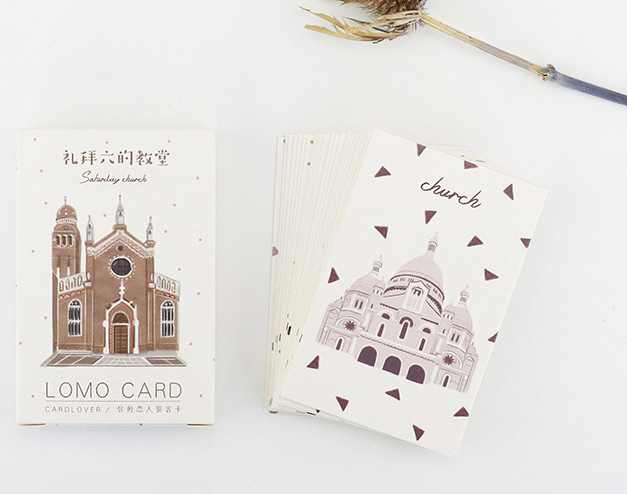AELM012-52mm*80mm old building paper greeting card lomo card(1lot=28pieces)