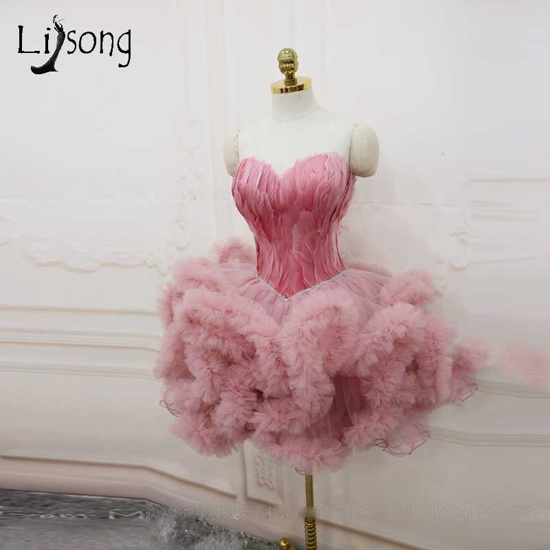 Abiye Dusty Pink Feather Mini   Cocktail     Dresses   2018 Ruffles Ruched Short Evening Party   Dress   Sweetheart Crystal Gowns Christmas