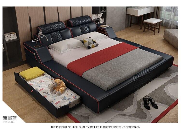 Véritable lit en cuir véritable lits doux chambre camas lit muebles de dortoir yatak mobilya quarto bureau table lumière tiroir de rangement