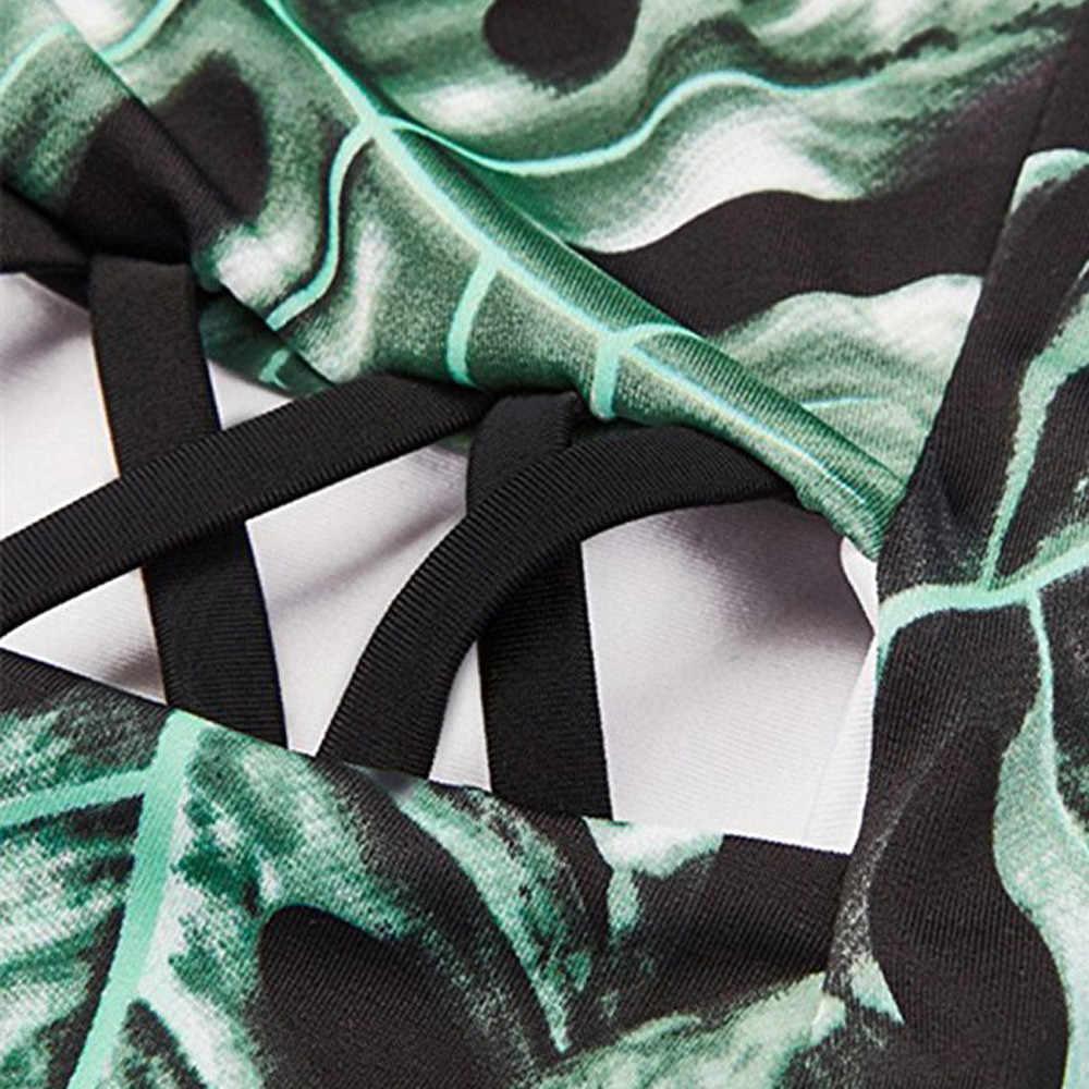 Traje de baño de una pieza con estampado verde para mujer traje de baño de una pieza con escote en V profundo para mujer traje de baño Sexy de una pieza para mujer 2019