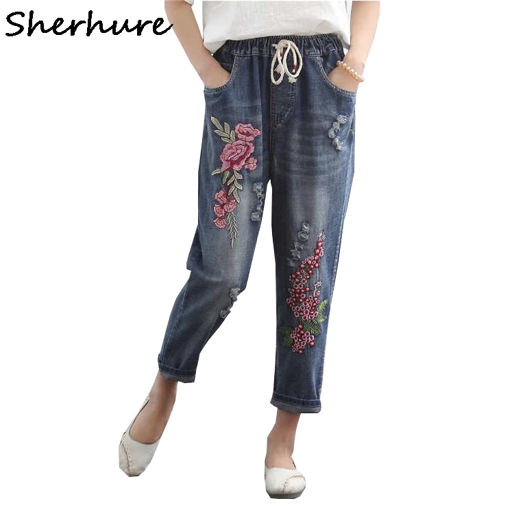 Sherhure 2018 Plus Size Lace-Up Waist Flower Embroidery   Jeans   For Woman   jeans   Vintage Loose Women   Jeans   Pants Femme