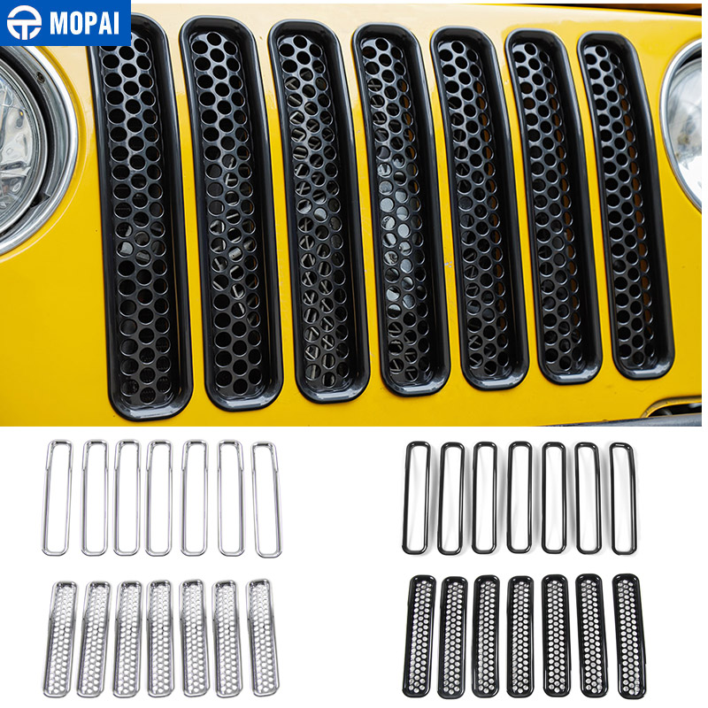 MOPAI For Jeep Wrangler TJ 1997-2006 Mesh Front Insert Grille Cover Trim Car Exterior Decoration ABS Stickers Car Styling