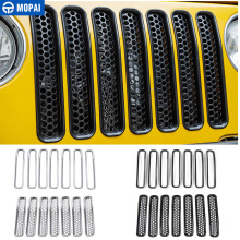 7 PCS ABS Mesh Front Insert Grille Trim Cover Without For TJ Wrangler 1997-2006