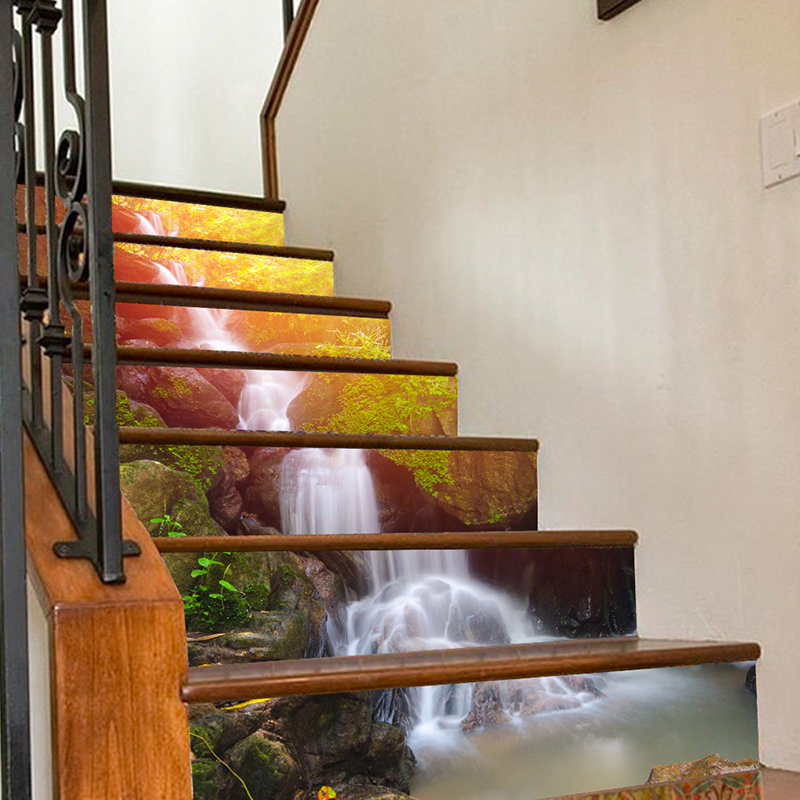 Creative 3D DIY stairway stickers 18*100cm 6pcs/Set pattern room stairs floor decoration PVC waterproof <font><b>wall</b></font> sticker home decor