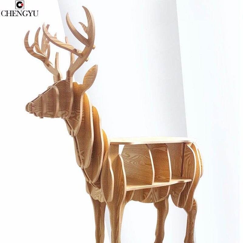 Table basse créative moderne de bureau de cerf en bois d'élan en bois meubles à la maison stockage étude livre étagère ménage Table latérale 72*64*26 cm
