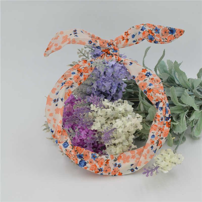 1 PC น่ารัก Leopard DOTS พิมพ์ดอกไม้กระต่ายกระต่ายหูริบบิ้น Headwear Hairband โลหะลวดผ้าพันคอ Headband ผม BAND อุปกรณ์เสริม