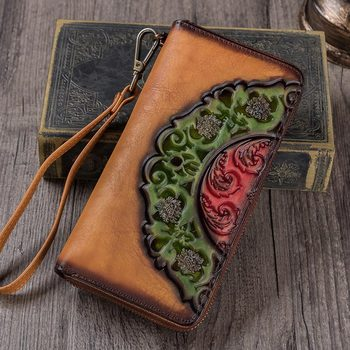 Vintage First Layer Cow Leather Handmade Female Wallet New Arrival Multi Card Holder Purse High Quality Long Zipper Women Wallet