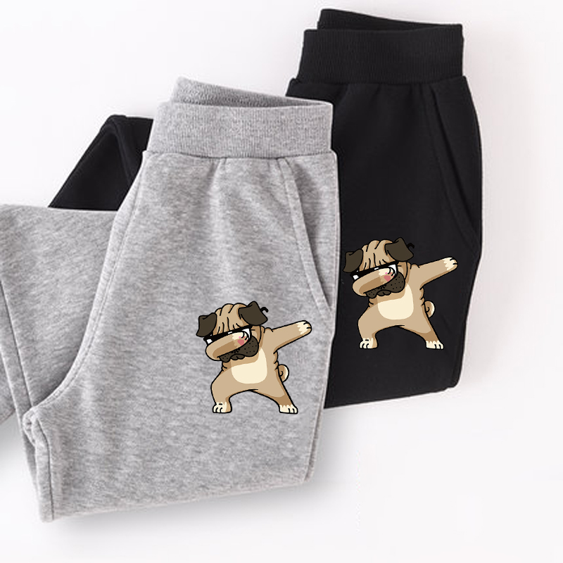 Boys funny pug Dabbing long pants girl thin cotton trousers Kids cartoon spring sweatpants boy pant 1