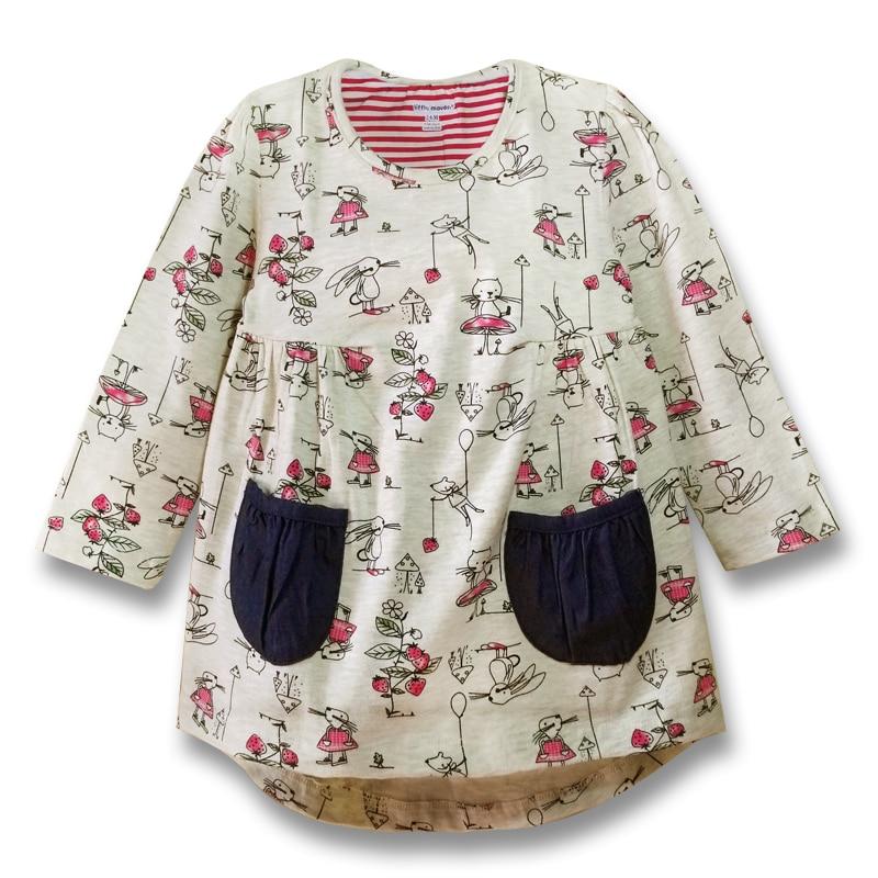 Jarní podzim Dívky šaty Tisk s dlouhými rukávy šaty s kapsami Bavlněné děti ležérní oblečení značky dětské oblečení (1-6 let)  t