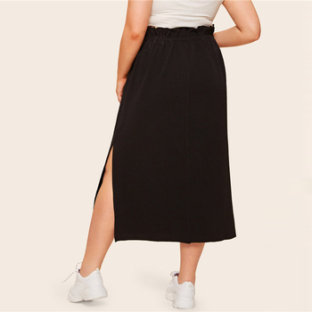 Plus Size Black Ruffle Drawstring Paperbag Waist Split Side Skirt