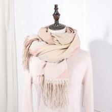 2019 New Warm Winter Scarf Women Tassel Plaid Scarves Soft Pink Cashmere Solid Shawls Female Foulard
