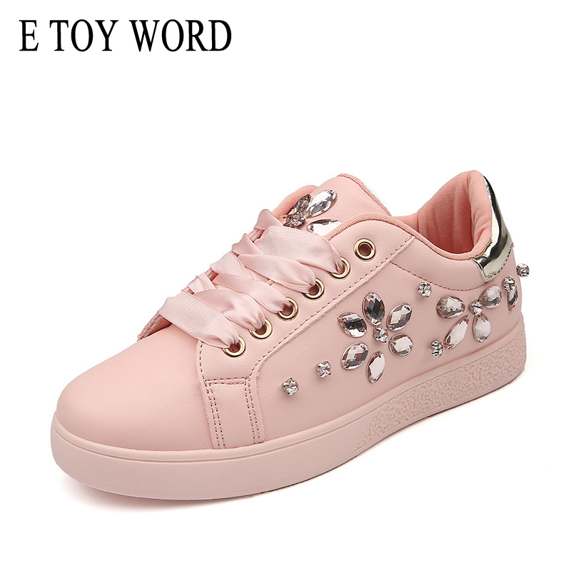 E TOY WORD 2018 Fashion Sneakers Women Flat Rhinestone Casual Shoes Soft Women Sneakers Ladies Brand Shoes Pink Black White instantarts 2018 fashion sneakers women flat heel colorful cats paws casual shoes soft women s sneakers ladies air mesh flats