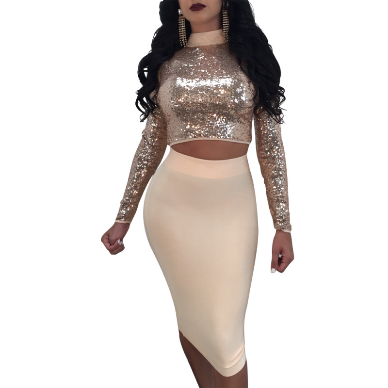 Sexy Lace Up Sequin Women's Set Long Sleeve Hollow Out Two Ways Crop Tops + Solid Pencil Skirts Women 2 Piece Set Nightclub Wear