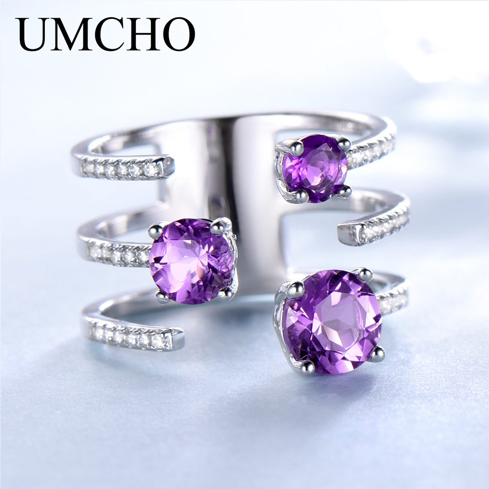 UMCHO 1.37ct Genuine Natural Amethyst Solid 925 Sterling Silver Double Ring Luxury Gemstone Wedding Rings For Women Fine JewelryUMCHO 1.37ct Genuine Natural Amethyst Solid 925 Sterling Silver Double Ring Luxury Gemstone Wedding Rings For Women Fine Jewelry