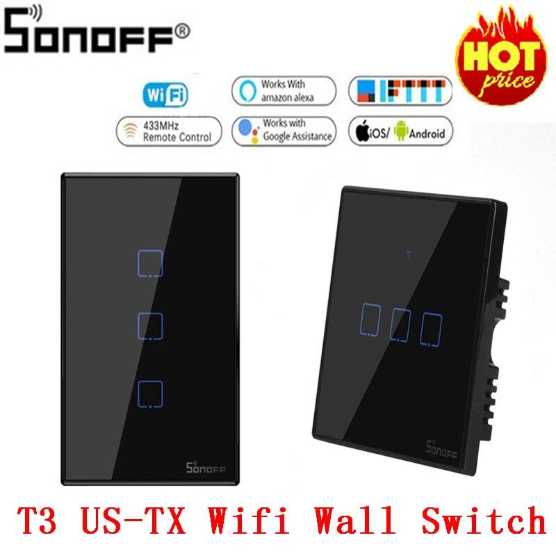 SONOFF T3 US/EU/UK TX 1/2/3 Gang 433 RF Ewelink Control Smart Wifi Touch Wall Light Switch Basic Work With Alexa Google Home