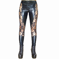 2018 New Women Sexy Lingerie Faux Leather Black Lace Up Leggings Wet look Rivets Clubwear Fashion Lace Gothic Pants Ladies S XL