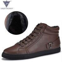 WEST SCARP Men Boots Winter Shoes Men Warm Plush Male Ankle Boots Outdoor Leather Shoes Fashion
