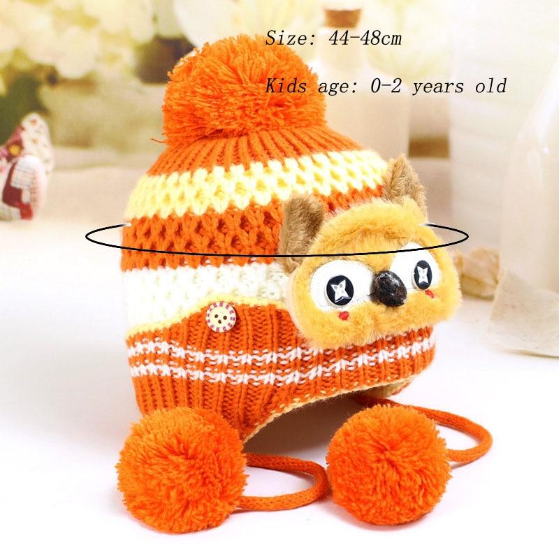 Warm Cute Fox Pattern Children Knitted Beanies Hats Kids Pompom Ball