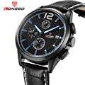 LONGBO Luxury Brand  Sports Men Stainless Steel Army Quartz Genuine Leather Chronograph Date Calendar Analoy Watch 80178