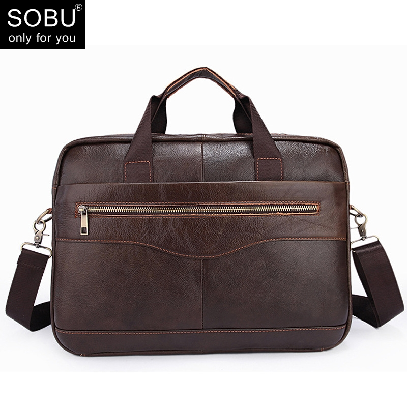 New Fashion Genuine Leather Famous Brand Men Briefcase  14 Inch Commercial Laptop Briefcase Cross-body Shoulder Bag N072
