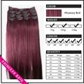 """Venta al por mayor 15 """" - 22 """" mujer de pelo humano de Remy Straight Clips en extensiones de cabello 70gr # fantasy Red"""