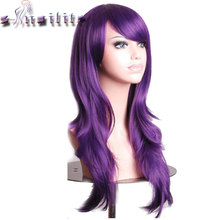 S noilite Long Wavy Layer Cosplay Party Full Wig Pink Purple Red Women Ladies Heat Resistant
