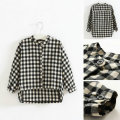 2016 Autumn Clothes Plaid Shirt Baby Girl Clothing Girl Blouse Girls Long Sleeves Top Black&White Plaid Shirt Casual Clothes
