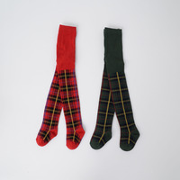 INS Hot Korean Style Fashion Green Red Classic Check Pattern Baby Tights Grils Warm Tights Winters