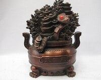 Bi001781 Chinês Bronze Copper Fengshui Ruyi Yuanbao Riqueza Boa sorte treasure tigela