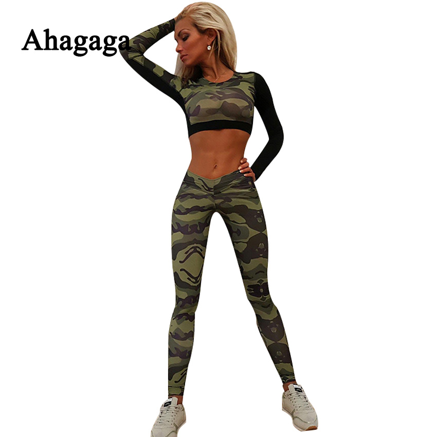 Ahagaga 2017 Spring Summer Women Tracksuits Sets Camouflage Fitness Women Suit set Costume 2 pieces Sexy
