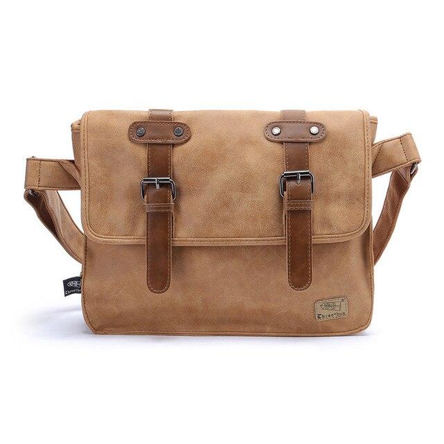 New Fashion Men's Shoulder Bag Simple Vintage Leather Men Messenger Bag Korean Style Cool Handbag Male Business Briefcase Bag