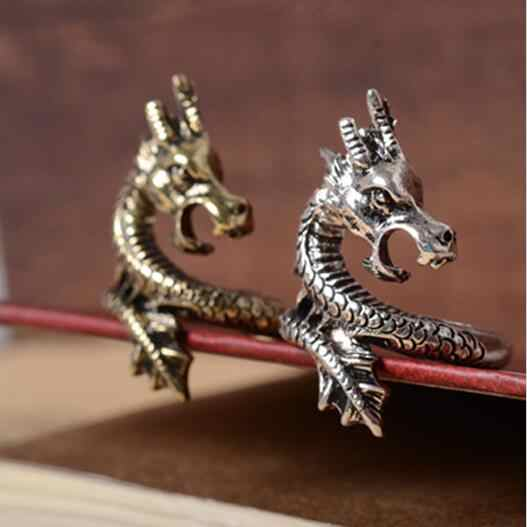 Charms Punk Fashion Exaggerated Ring for Men and Women Vintage Retro Dragon silver Ring Jewelry