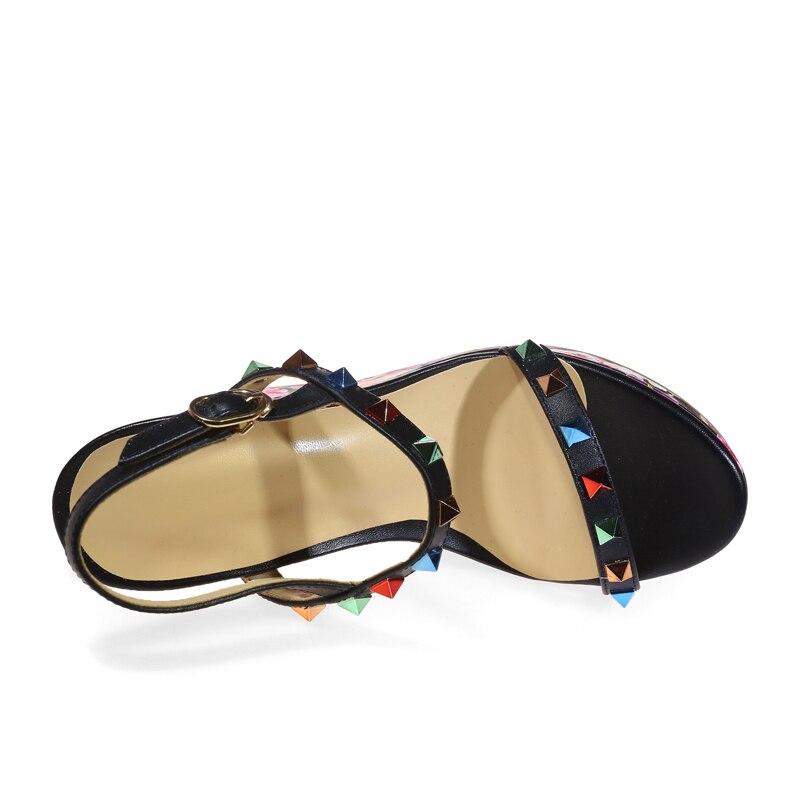 Sandalias Zapatos Cuña Remaches Verano Las Correa Tacones De Mujeres Plataforma Genuino Impresión Calidad rosado 2019 Hebilla Alta Cuero Sarairis Negro 1c87R1